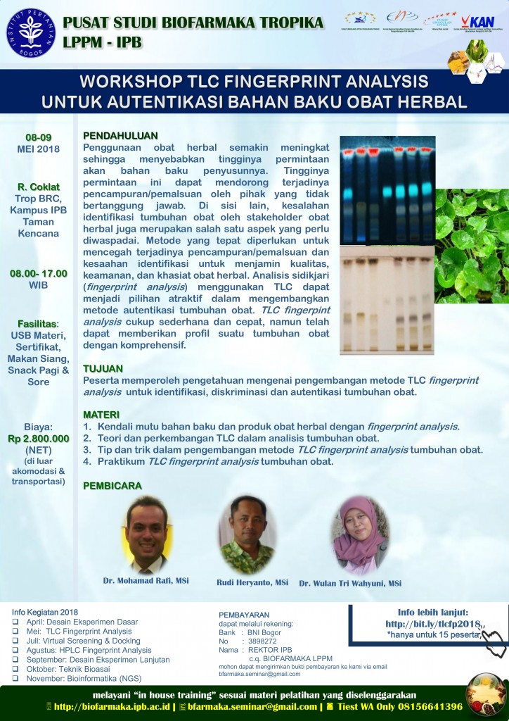 Workshop TLC Fingerprint Analysis 2018 untuk Autentifikasi Bahan Baku Herbal